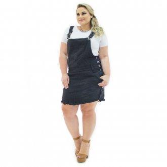Jardineira Salopete Feminina Jeans com Bolso Plus Size