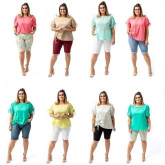 KIT 5 Blusas Femininas Plus Size Sortidas