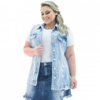Maxi Colete Feminino Jeans Destroyed Plus Size