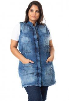 Maxi Colete Jeans Feminino com Lycra Plus Size