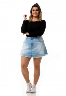 Mini Saia Jeans Evasê Plus Size