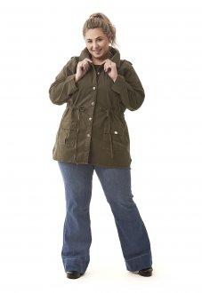 Parka Feminina Jeans Alongada Plus Size