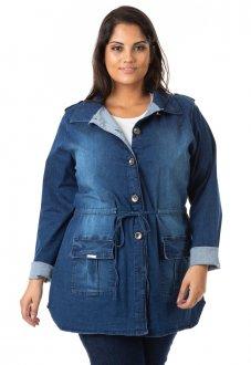 Imagem - Parka Feminina Jeans com Lycra Plus Size