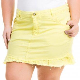 Saia Curta Jeans Color com Babado Plus Size