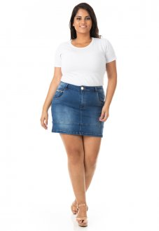 Saia Curta Jeans com Barra e Lycra Plus Size