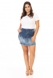 Saia Curta Jeans Lace Up Plus Size