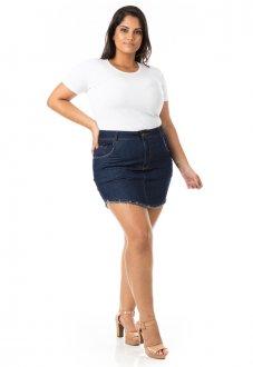 Saia Curta Jeans Tradicional Plus Size