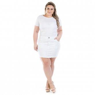 Saia Jeans Curta Branca com Elastano Plus Size