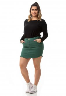 Imagem - Saia Jeans Destroyed Color Plus Size