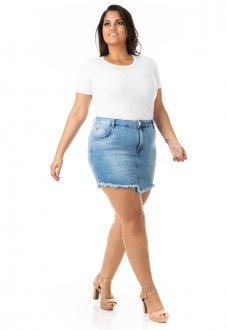 Saia Jeans Tradicional com Lycra Plus Size