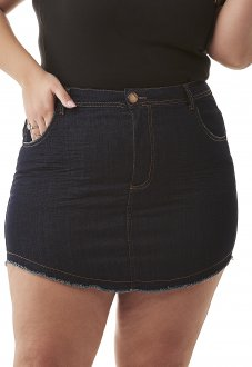 Saia Mini Jeans Com Lycra Tradicional Plus Size