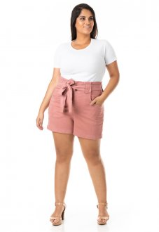 Shorts Feminino Clochard com Cinto Plus Size