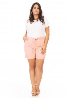 Shorts Feminino Jeans Color com Amarração Plus Size