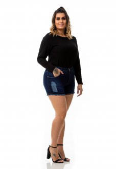 Shorts Feminino Jeans Destroyed Curto Plus Size