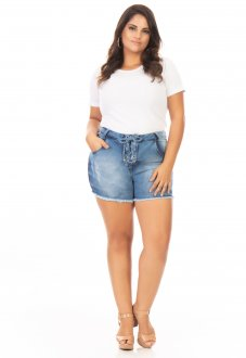 Shorts Jeans Feminino Lace Up Plus Size