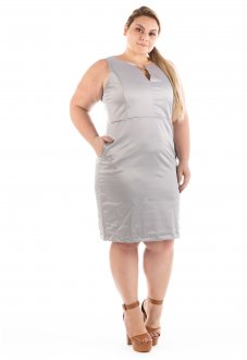 Vestido Casual Urban Satin Cetim Plus Size