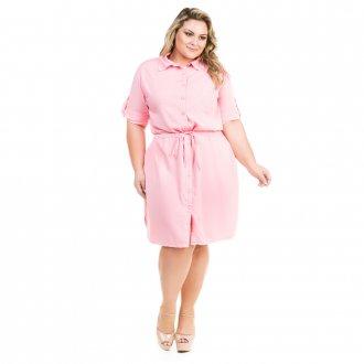 Vestido Chemisie de Sarja Color Plus Size