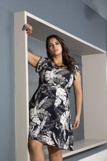 Vestido de Viscose Floral Plus Size