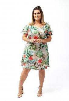 Vestido em Viscose Leve Floral Comprimento Médio Soltinho Plus Size