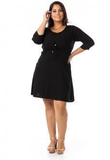Vestido Evasê em Linho com Elastano Plus Size
