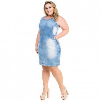 Vestido Jeans Regata Casual com Recortes Plus Size
