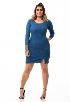 Vestido Jeans Tubinho com Fenda Plus Size