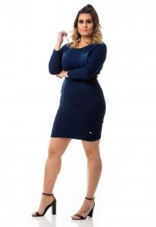 Imagem - Vestido Jeans Tubinho com Lycra Plus Size