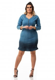 Vestido Jeans Tubinho com Zíper Plus Size