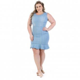 Vestido Jeans Vinil Regata com Babado Plus Size