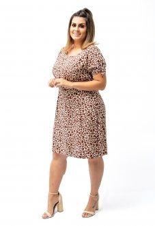 Vestido Levinho Oncinha Comprimento Médio Soltinho Plus Size