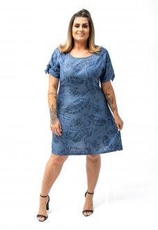Vestido Médio Jeans Levinho Com Estampa Super Discreta Plus Size