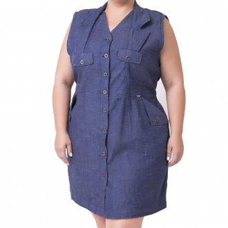 Imagem - Vestido Regata com Gola e Abotoamento Plus Size