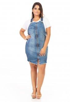 Vestido Salopete Jeans com Zíper Plus Size