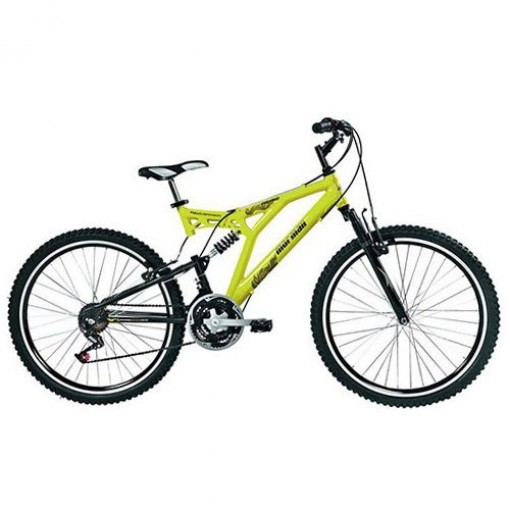 Bicicleta Padang Full Suspension 21V Aro 26 Amarelo Mormaii