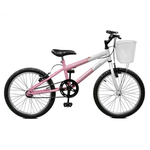 Bicicleta Aro 20 Feminina Serena Rosa e Branco Master Bike