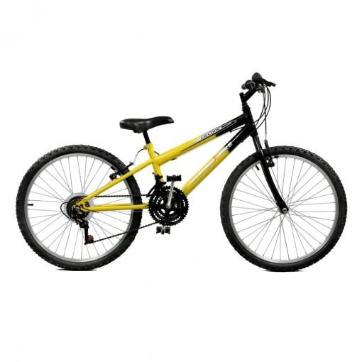 Bicicleta Aro 24 Masculina Ciclone Plus 21 Marchas Amarelo com Preto Master Bike