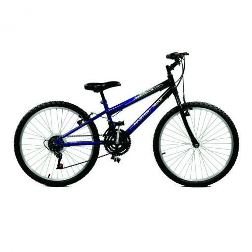 Bicicleta Aro 24 Masculina Ciclone Plus 21 Marchas Azul com Preto Master Bike