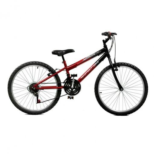 Bicicleta Aro 24 Masculina Ciclone Plus 21 Marchas Vermelho com Preto Master Bike