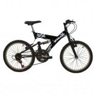 Imagem - Bicicleta Full Suspension Aro 20 V-Brake 18M Preta Polimet cód: 541131003037031011