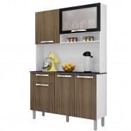 Imagem - Cozinha Compacta Itatiaia Amêndoa Preto/Carvalho Madeira 1 Peça com Vidro I3G1-120 cód: CZ0840203080201121