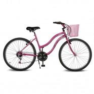 Imagem - Bicicleta Aro 26 Leme 6.5 com Cesta 21v Pink Kyklos cód: MKP000024000336