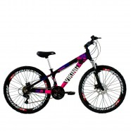Bicicleta X TUFF25 Freeride Aro 26 Preto Rosa 21V - Viking
