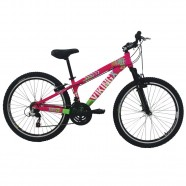 Imagem - Bicicleta Freeride Aro 26 21 Vel Rosa/Verde VikingX TUFF25 cód: MKP000163000014
