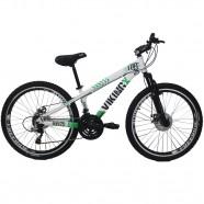 Bicicleta VikingX Tuff25  Freeride Aro 26 21V Branco/Verde