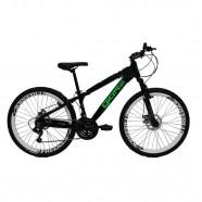 Bicicleta Aro 26 Preto/Verde 21 Velocidades Freeride Gios