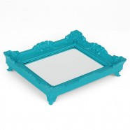 Bandeja Espelho Rococó Turquesa P 6x29x24cm Trevisan Concept