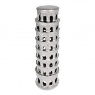 Imagem - Cerâmica Prateada Torre de Pisa 35cm X 11cm X 11cm Trevisan cód: MKP000196000940
