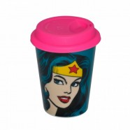 Copo Artgeek Cerâmica Dc Com Tampa Silicone Face Wonder Woman