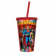 Copo Plástico Artgeek Com Tampa e Canudo Dc Super Friends Colorido
