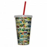 Copo Plástico Artgeek Com Tampa e Canudo Dc Comics Colorido